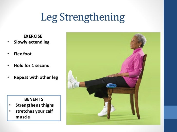 Leg Strengthening      EXERCISE• Slowly extend leg• Flex foot• Hold for 1 second• Repeat with other leg      BENEFITS• Str...