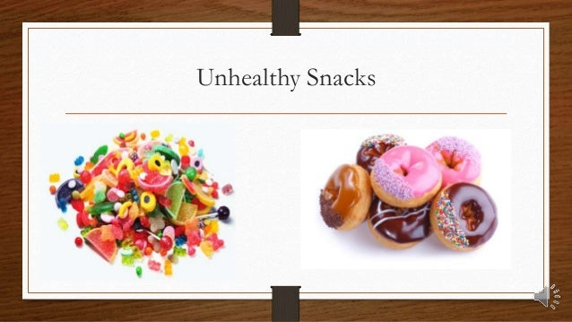 Healthy and unhealthy foods and snacks