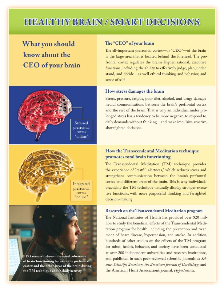 """HEalTHy BRain / SMaRT DECiSiOnS  What you should                                  The """"CEO"""" of your brain                 ..."""