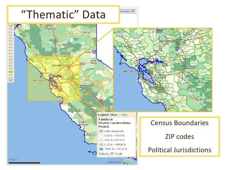 """""""Thematic"""" Data<br />Census Boundaries<br />ZIP codes<br />Political Jurisdictions<br />"""