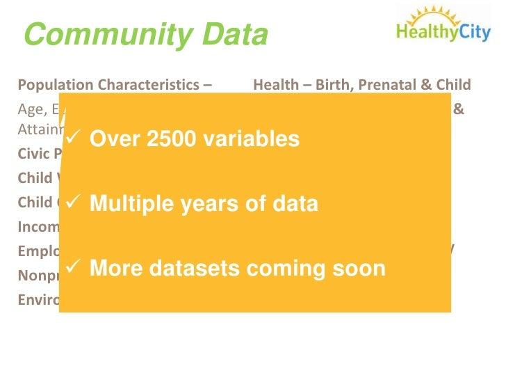 Community Data<br />Population Characteristics – <br />Age, Ethnicity, Educational Attainment, etc.<br />Civic Participati...