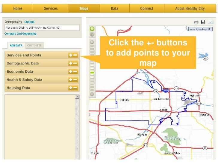 Click the +- buttons <br />to add points to your map<br />