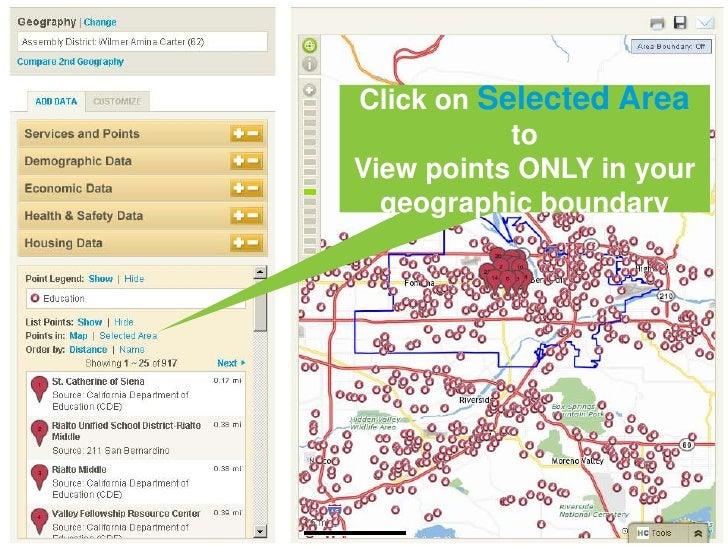 Click on Selected Areato <br />View points ONLY in your geographic boundary<br />