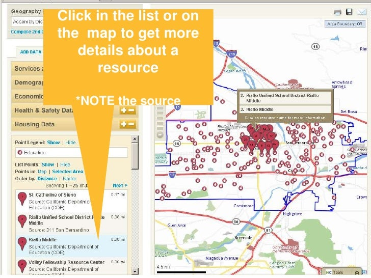 Click in the list or on the  map to get more details about a resource<br />*NOTE the source<br />