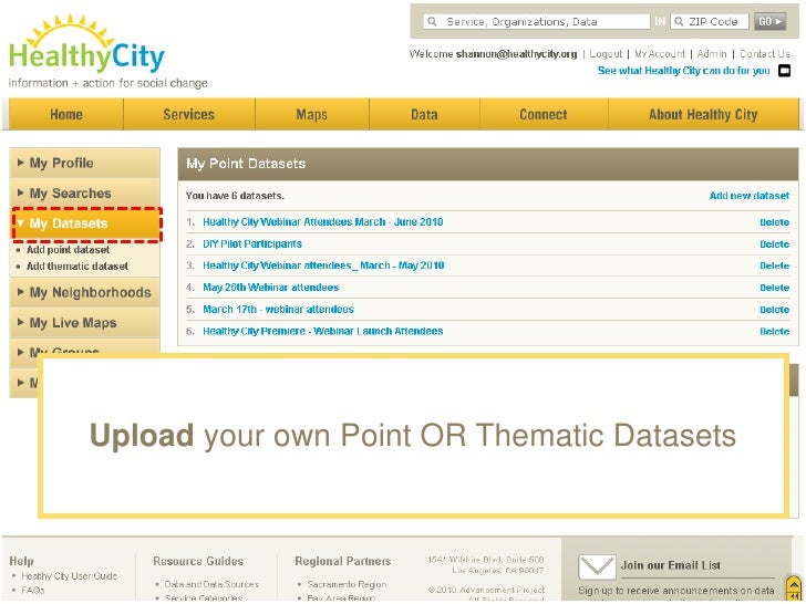 A few HealthyCity.org Advanced Features<br />Save searches, maps & charts<br />Upload your own Point & Thematic Datasets<b...