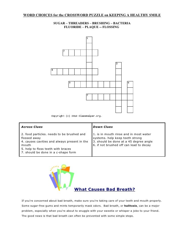 Healthy crossword puzzles ccuart Images
