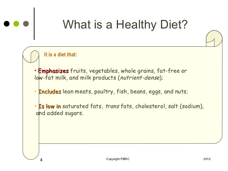 Healthy diet recommendations