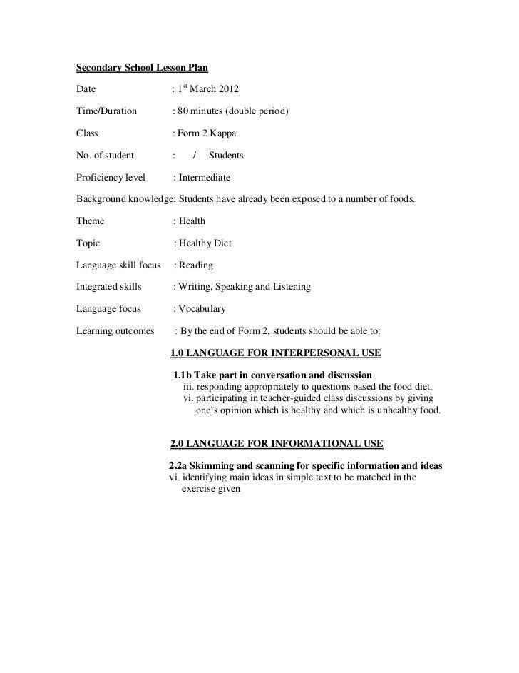 Secondary School Lesson PlanDate                   : 1st March 2012Time/Duration          : 80 minutes (double period)Clas...