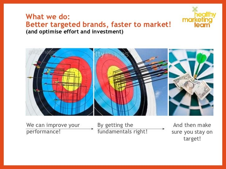 What we do: Better targeted brands, faster to market! (and optimise effort and investment) We can improve your performance...