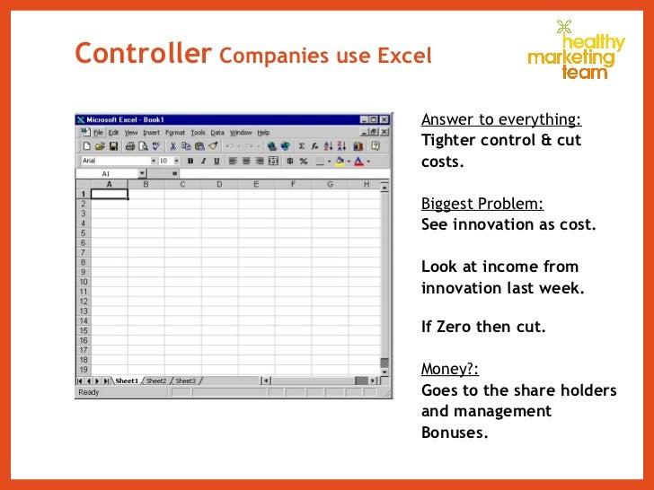 Controller  Companies use Excel <ul><li>Answer to everything: </li></ul><ul><li>Tighter control & cut  </li></ul><ul><li>c...
