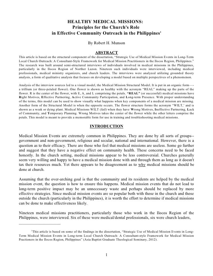 HEALTHY MEDICAL MISSIONS:                                  Principles for the Churchs Role                       in Effect...