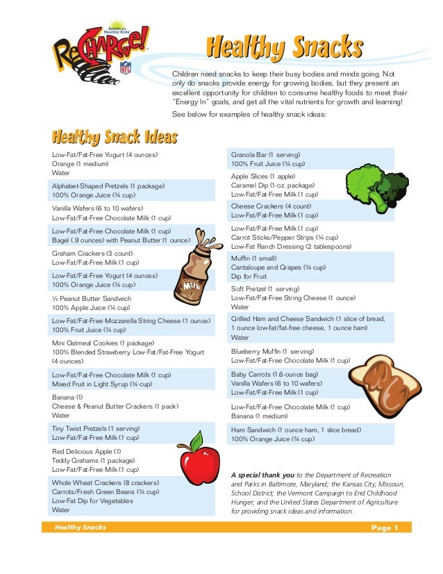 Healthy Snacks                                  Children need snacks to keep their busy bodies and minds going. Not      ...