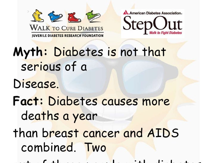 Myth: Diabetes is not that serious of a <br />Disease.<br />Fact: Diabetes causes more deaths a year <br />than breast can...
