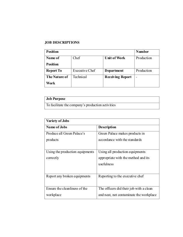 Healty food restaurant – Executive Chef Job Description