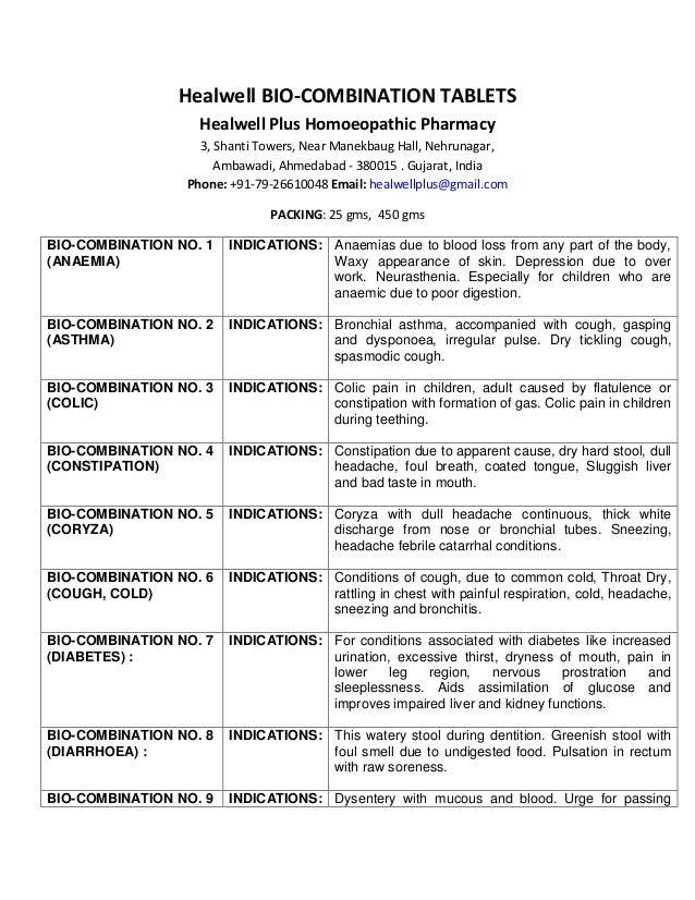 Healwell Bio-Combination Tablets No  1 to 28