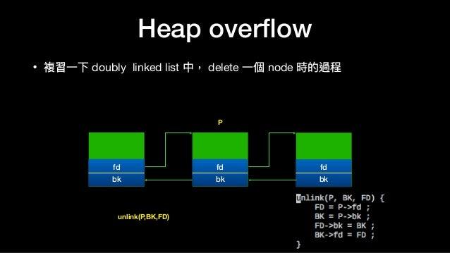 Heap overflow • 複習⼀一下 doubly linked list 中, delete ⼀一個 node 時的過程 fd bk fd bk fd bk P unlink(P,BK,FD)