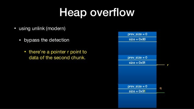 Heap overflow • using unlink (modern)  • bypass the detection  • there're a pointer r point to data of the second chunk. p...