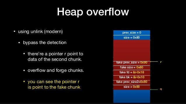 Heap overflow • using unlink (modern)  • bypass the detection  • there're a pointer r point to data of the second chunk.  ...