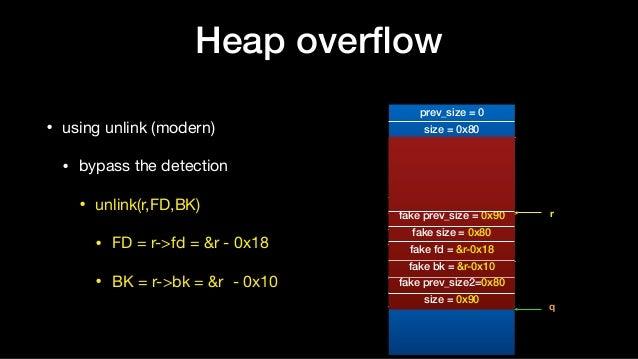 Heap overflow • using unlink (modern)  • bypass the detection  • unlink(r,FD,BK)  • FD = r->fd = &r - 0x18   • BK = r->bk =...