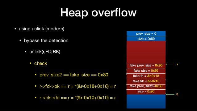 Heap overflow • using unlink (modern)  • bypass the detection  • unlink(r,FD,BK)  • check  • prev_size2 == fake_size == 0x8...