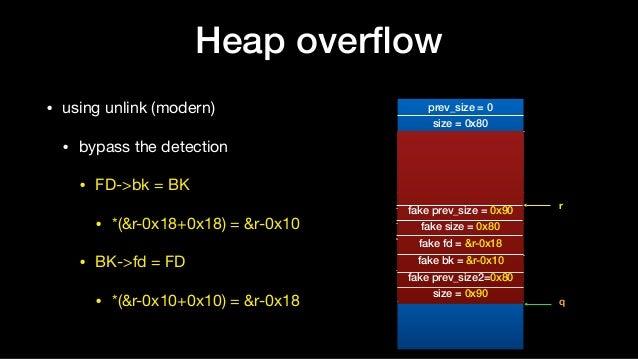 Heap overflow • using unlink (modern)  • bypass the detection  • FD->bk = BK  • *(&r-0x18+0x18) = &r-0x10  • BK->fd = FD  •...