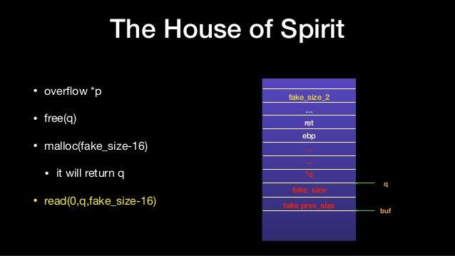 The House of Spirit • overflow *p  • free(q)  • malloc(fake_size-16)  • it will return q  • read(0,q,fake_size-16) fake_siz...