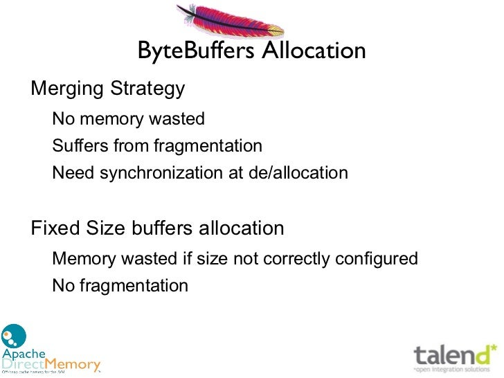 ByteBuffers AllocationMerging Strategy  No memory wasted  Suffers from fragmentation  Need synchronization at de/allocatio...