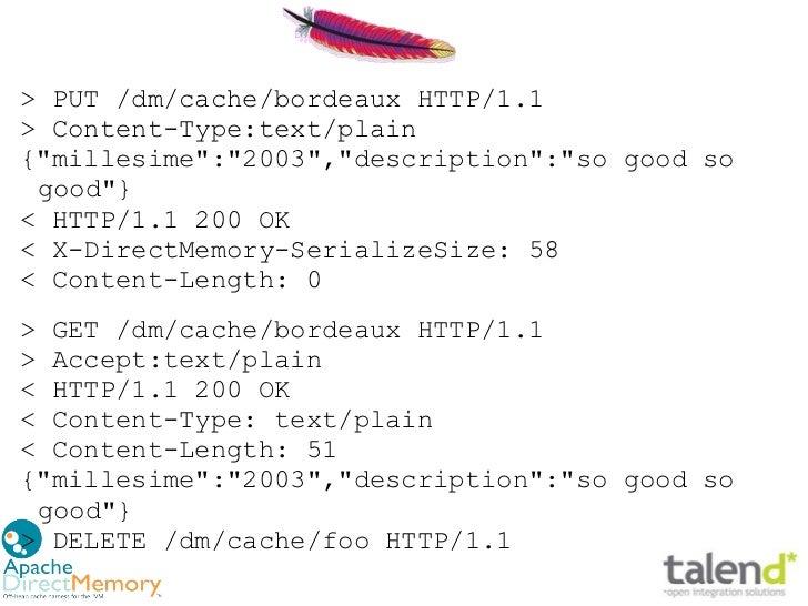 """> PUT /dm/cache/bordeaux HTTP/1.1> Content-Type:text/plain{""""millesime"""":""""2003"""",""""description"""":""""so good so good""""}< HTTP/1.1 2..."""