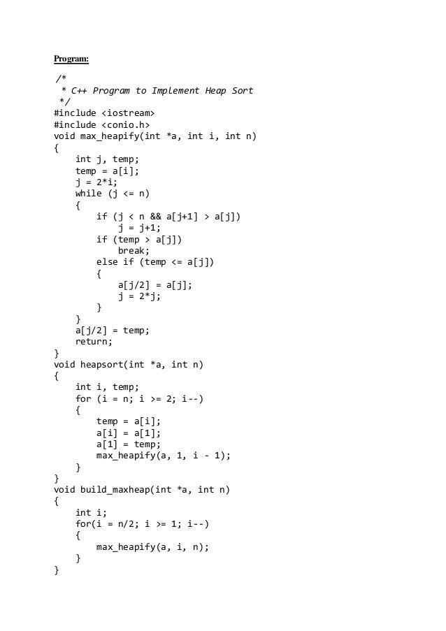 Write a program of heap sort casue and effect essay