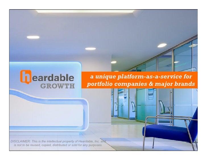 a unique platform-as-a-service for                     GROWTH                           portfolio companies & major brands...