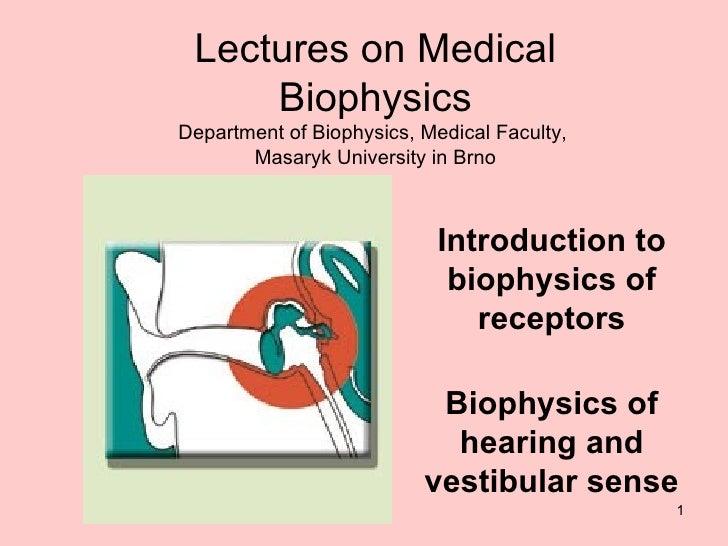 Introduction to biophysics of receptors Biophysics of hearing and vestibular sense Lectures on Medical Biophysics Departme...