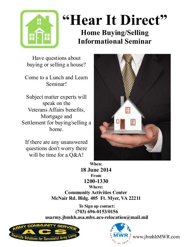 """Hear It Direct"" Home Buying/Selling Informational Seminar Have questions about buying or selling a house? Come to a Lunch..."