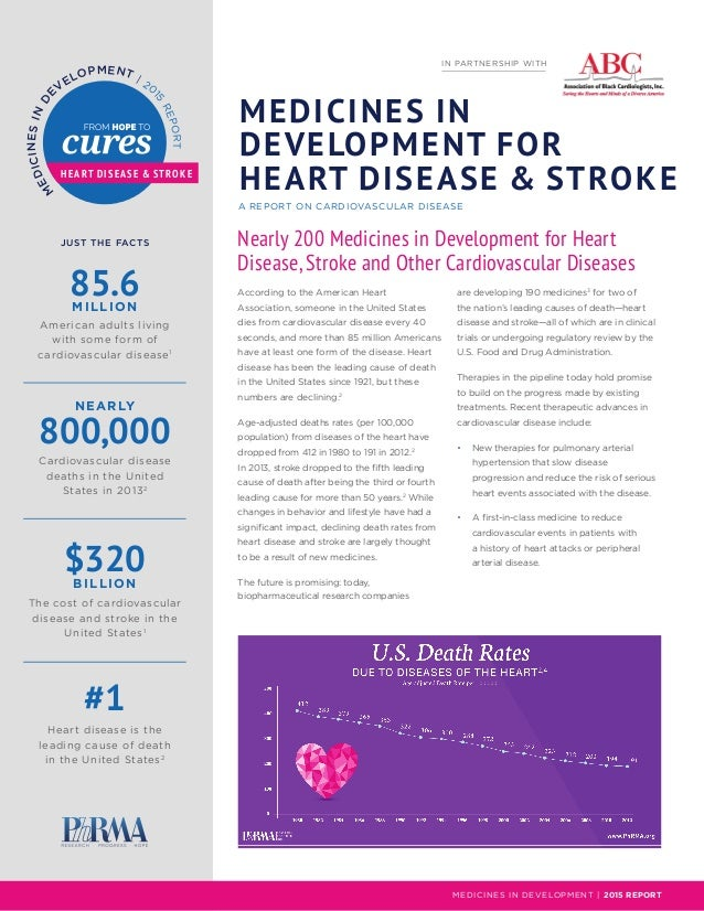 M EDICINESIN DE V ELOPMENT | 20 15 REPORT JUST THE FACTS NEARLY MILLION BILLION MEDICINES IN DEVELOPMENT FOR HEART DISEASE...