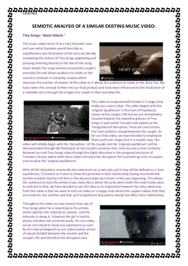 Smita Roy.      SEMIOTIC ANALYSIS OF A SIMILAR EXISTING MUSIC VIDEO:Trey Songz: 'Heart-Attack.'This music video starts of ...