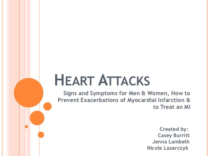 Heart Attacks<br />Signs and Symptoms for Men & Women, How to Prevent Exacerbations of Myocardial Infarction & to Treat an...