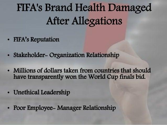ORGANIZATONAL RESPONSE TO FIFA CRISIS • Joseph S. Blatter first denies any wrong doings in the FIFA organization. • Despit...