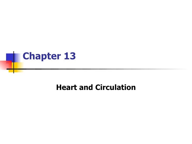 Chapter 13      Heart and Circulation