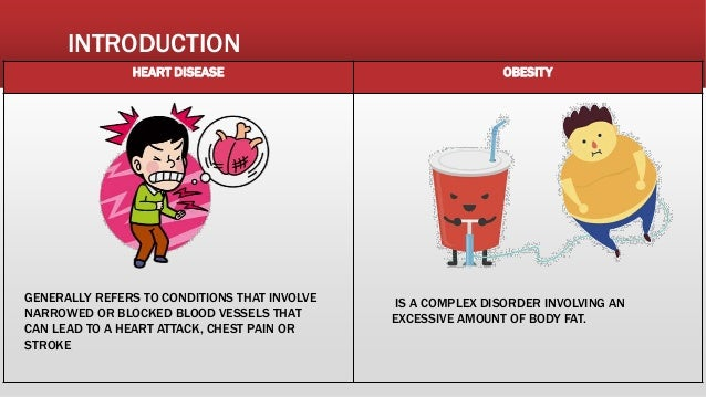 INTRODUCTION HEART DISEASE OBESITY GENERALLY REFERS TO CONDITIONS THAT INVOLVE NARROWED OR BLOCKED BLOOD VESSELS THAT CAN ...