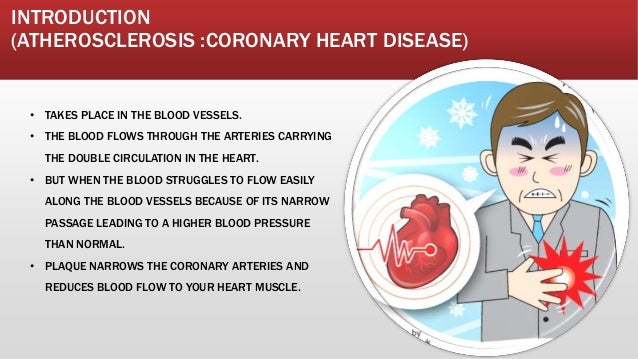 INTRODUCTION (ATHEROSCLEROSIS :CORONARY HEART DISEASE) • TAKES PLACE IN THE BLOOD VESSELS. • THE BLOOD FLOWS THROUGH THE A...