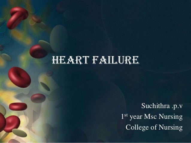 Heart failure Suchithra .p.v 1st year Msc Nursing College of Nursing