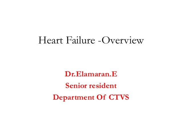 Heart Failure -Overview Dr.Elamaran.E Senior resident Department Of CTVS