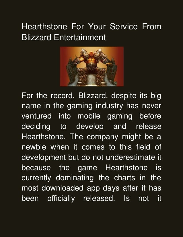 Hearthstone For Your Service From Blizzard Entertainment