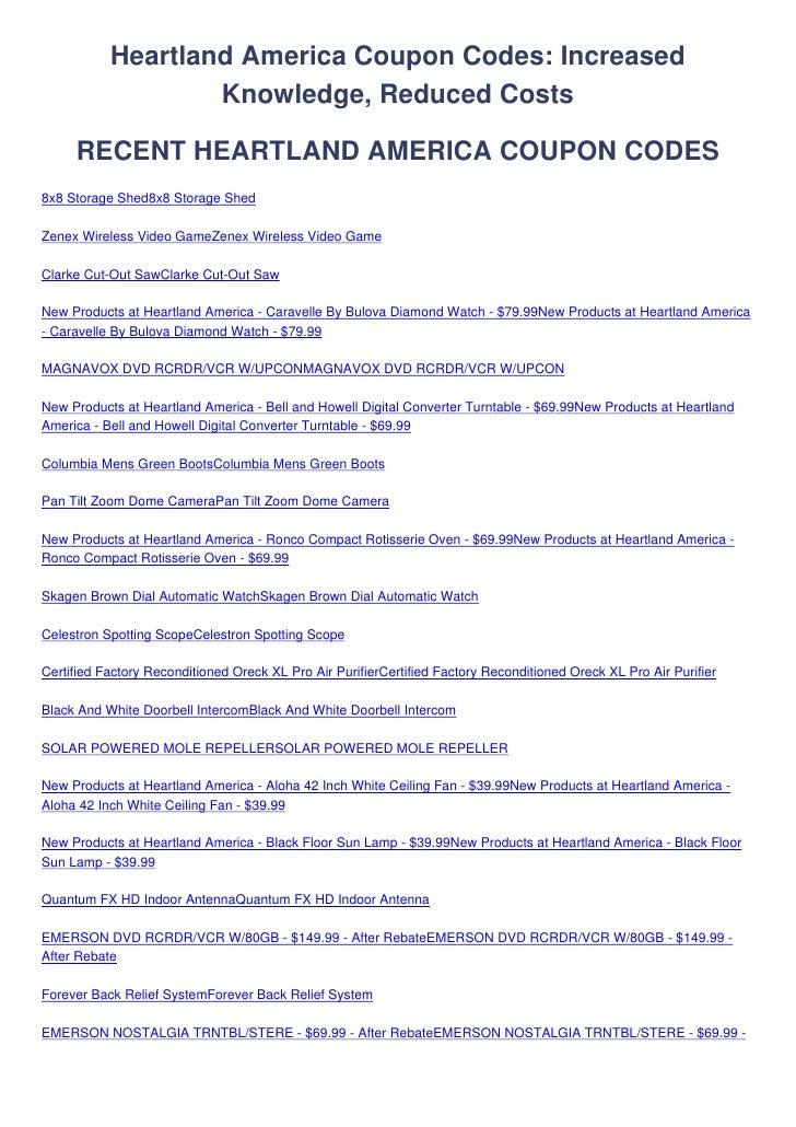 Heartland America Coupon Codes: Increased                    Knowledge, Reduced Costs       RECENT HEARTLAND AMERICA COUPO...