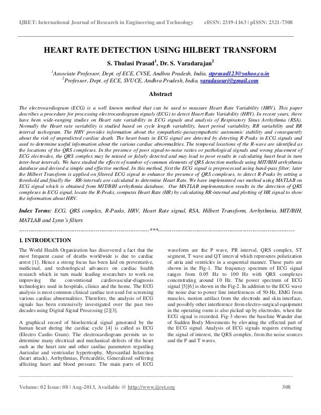 Heart rate detection using hilbert transform