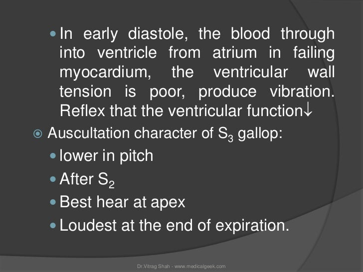  In early diastole, the blood through     into ventricle from atrium in failing     myocardium, the ventricular wall     ...