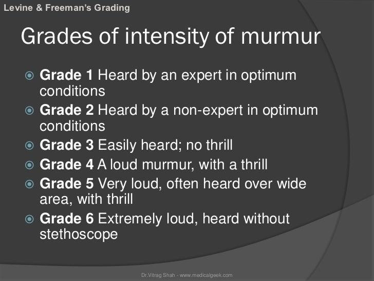 Levine & Freeman's Grading   Grades of intensity of murmur       Grade 1 Heard by an expert in optimum        conditions ...