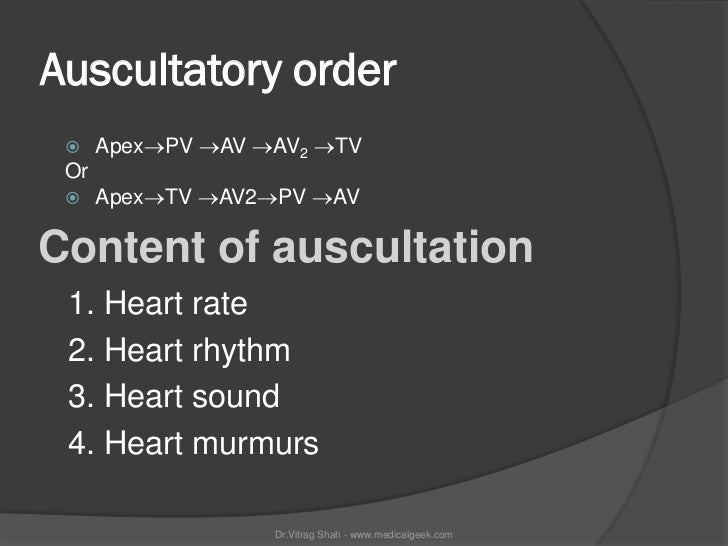 Auscultatory order     ApexPV AV AV2 TV Or     ApexTV AV2PV AVContent of auscultation 1. Heart rate 2. Heart rhy...