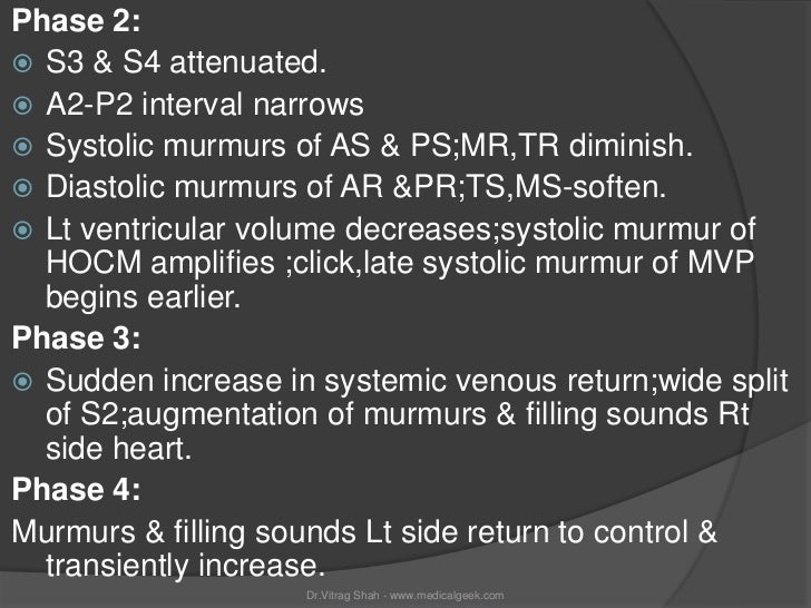 Phase 2: S3 & S4 attenuated. A2-P2 interval narrows Systolic murmurs of AS & PS;MR,TR diminish. Diastolic murmurs of A...