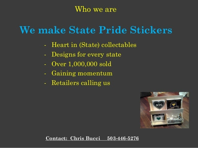 - Heart in (State) collectables - Designs for every state - Over 1,000,000 sold - Gaining momentum - Retailers calling us ...