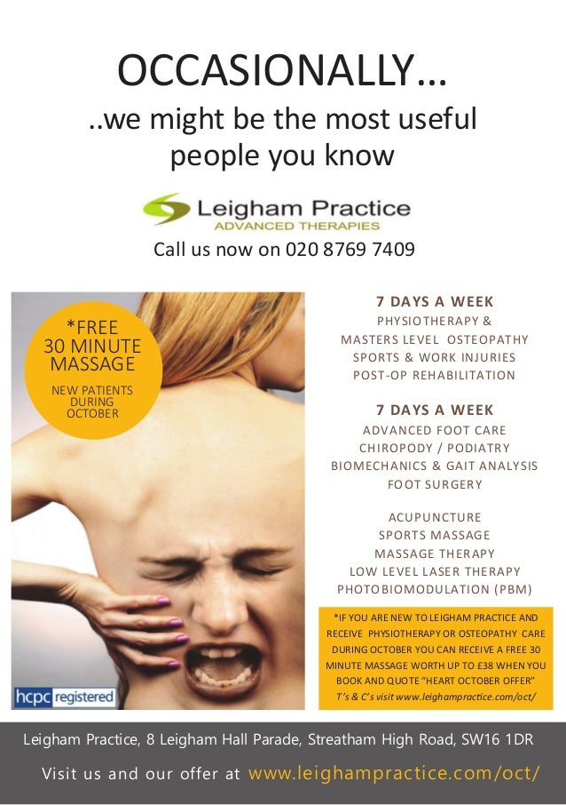 OCCASIONALLY… ..we might be the most useful people you know Call us now on 020 8769 7409 Leigham Practice, 8 Leigham Hall ...